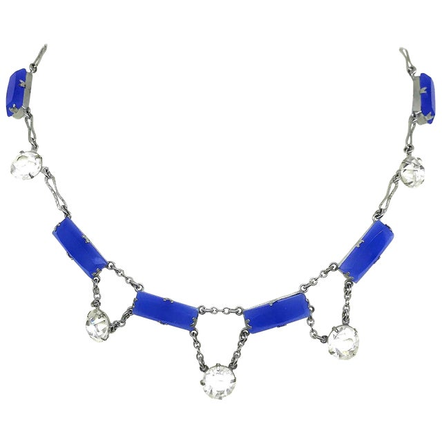 Deco Era Chalcedony Glass and Crystal Choker Length Necklace For Sale