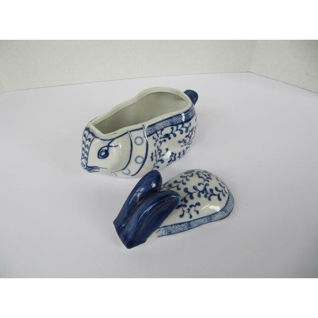 Blue & White Porcelain Rabbit Lided Box For Sale - Image 6 of 6