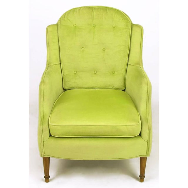 Pair of Chartreuse Yellow-Green Velvet Regency Lounge Chairs - Image 3 of 9