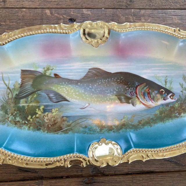 German Porcelain Handpainted Gold Gilt Fish Serving Set -Set of 15 For Sale - Image 10 of 13