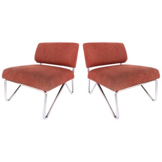 Mid-Century Modern Tubular Stainless Steel Slipper Chairs - a Pair For Sale