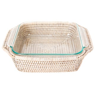 Artifacts Rattan Square Pyrex Holder For Sale