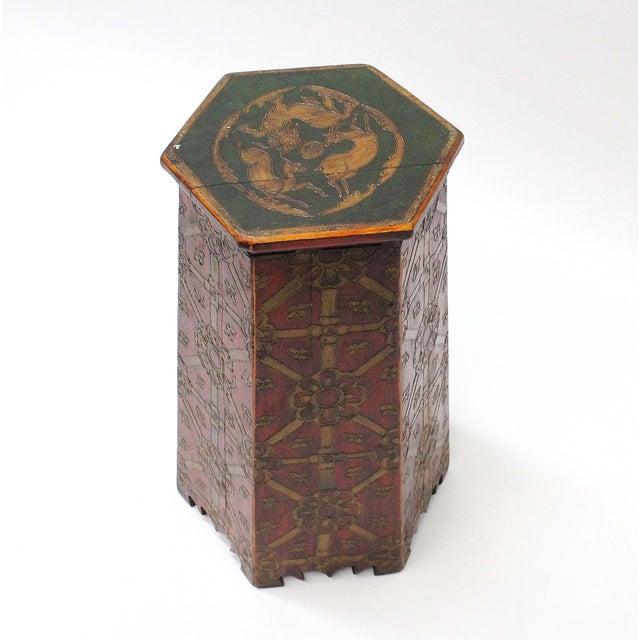 Vintage Hand Painted Tibetan Octagonal Side Table - Image 2 of 6