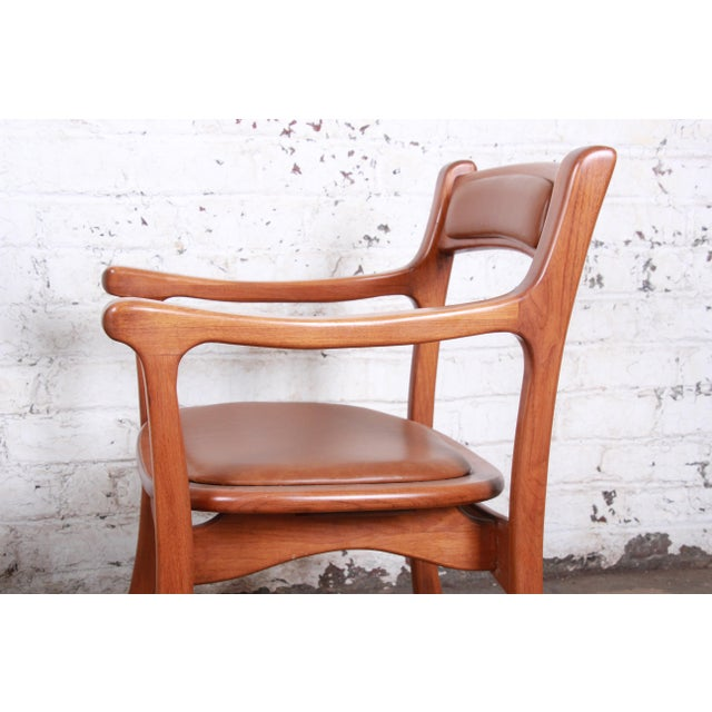 1960s Sculpted Solid Teak and Leather Studio Crafted Club Chairs - a Pair For Sale - Image 9 of 13