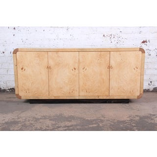 Milo Baughman Style Burled Olive Wood Credenza by Henredon Preview