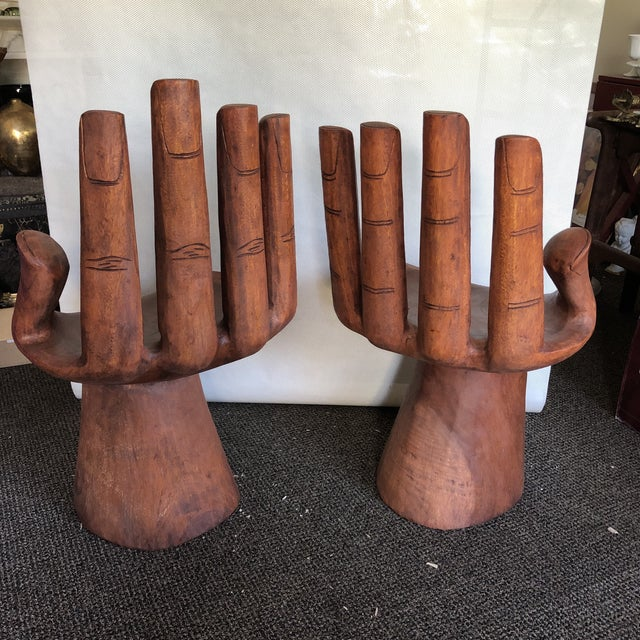 Wood Wooden Pedro Friedeberg Style Hand Chairs- a Pair For Sale - Image 7 of 9