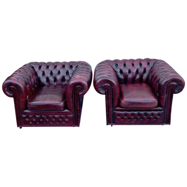 Pair of English Red Leather Chesterfield Club Chairs With Faux Bamboo Detail For Sale