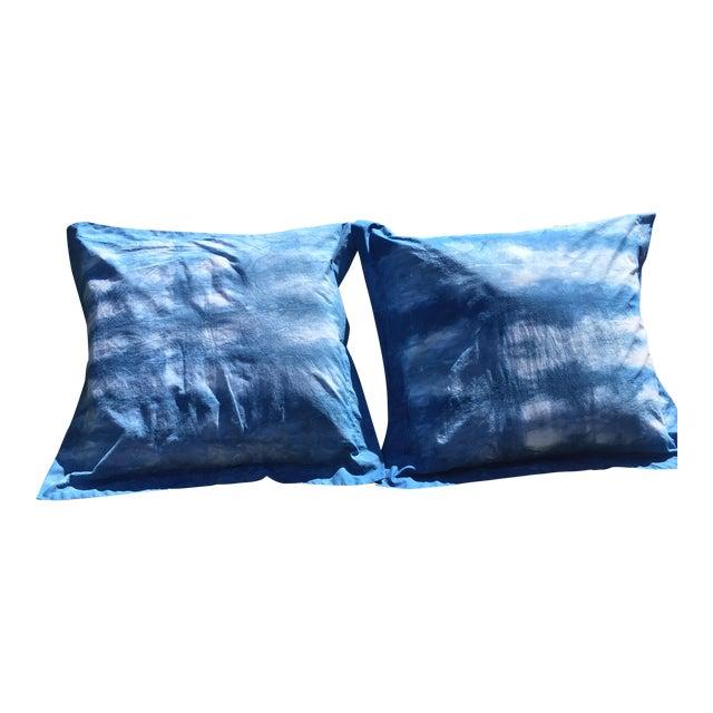 Blue & White Hand Dyed Indigo Shibori Euro Pillow Shams- Set of 2 For Sale