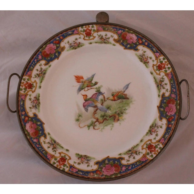 Colorful Pheasants Motif English Victiorian Transferware Plate With Hot Water Reservoir, Late 19Th Century. Provenance:...