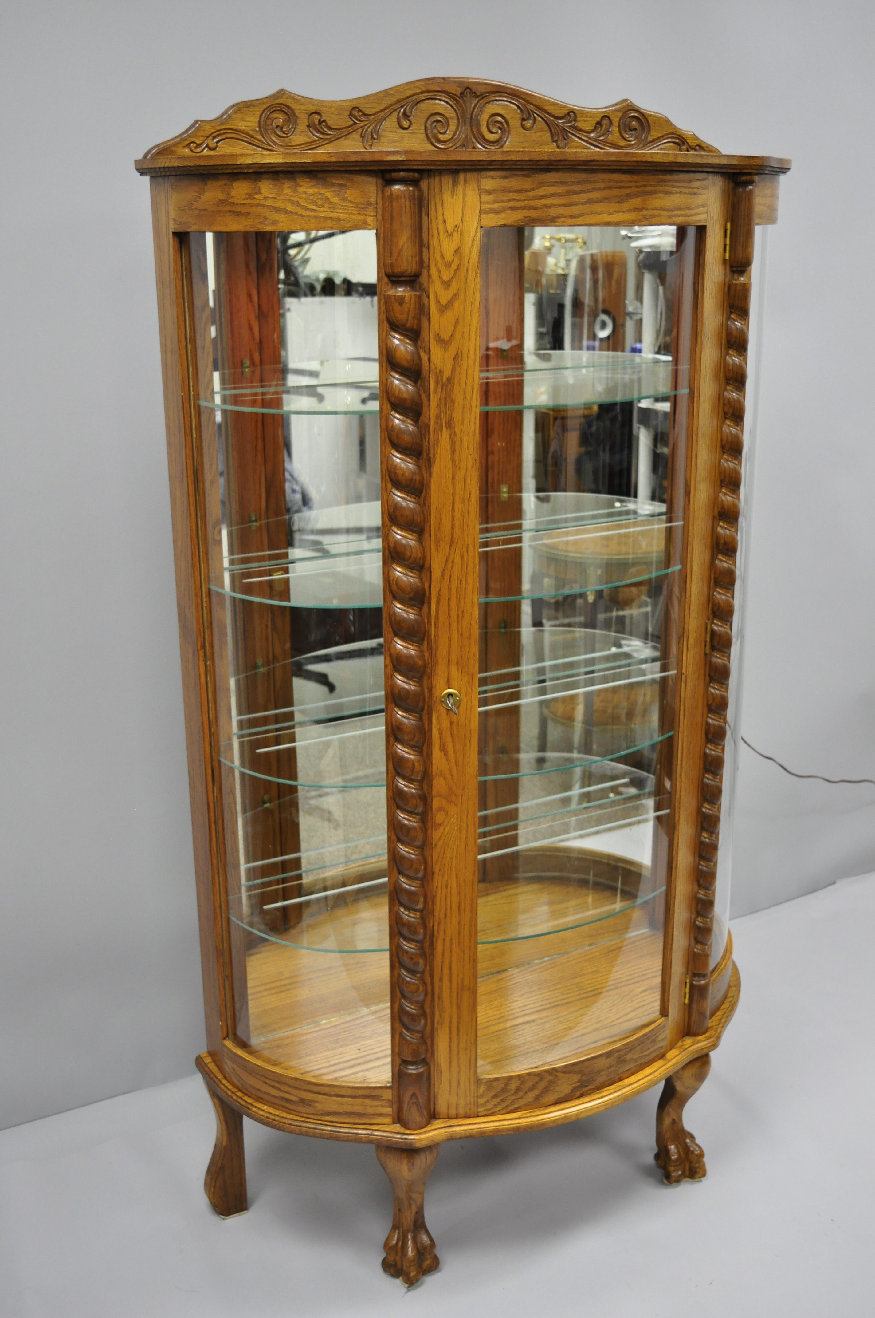 Glass 20th Century Victorian Golden Oak Bow Front Display Cabinet For Sale    Image 7 Of