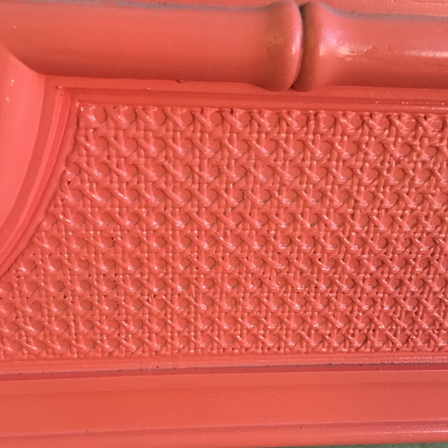 Vintage Coral Faux Bamboo Pagoda Style Mirror For Sale - Image 4 of 10