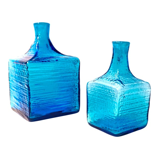 Blenko|• 6224l & 6224s Turquoise Blown Art Glass Decanters / Vases by Wayne Husted For Sale