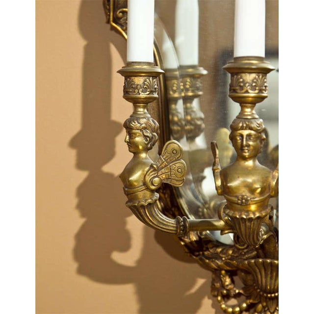 Neoclassical Bronze Wall Sconces - Pair For Sale In New York - Image 6 of 8
