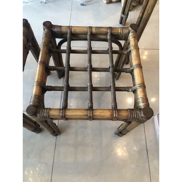 Brown Vintage Tropical Bamboo Rattan Console Table and Benches - 3 Pc. Set For Sale - Image 8 of 13