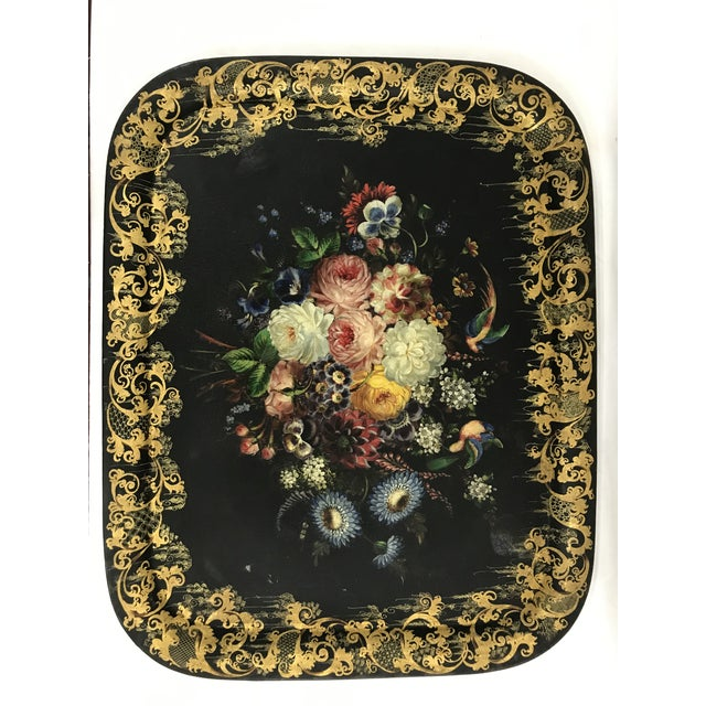 Napoleon III Painted Tray on Custom Art Deco Wrought Iron Stand For Sale - Image 9 of 9