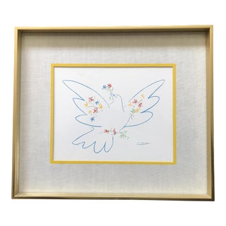 Vintage Picasso Peace Dove Wall Art Brass Frame
