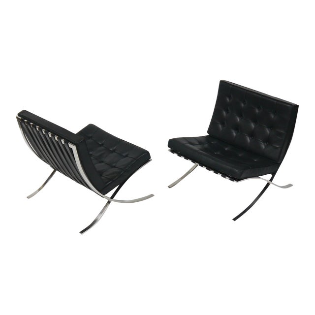 Exceptional Pair of Barcelona Chairs by Mies Van Der Rohe for Knoll For Sale