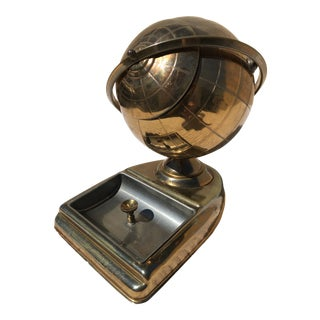 1950s Brass Mid Century Globe Desk Top Cigarette Dispenser/Ask Tray For Sale