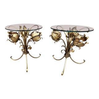 1960s Hollywood Regency Toleware Gold Gilded Lighting Floral Base Side Tables - a Pair For Sale