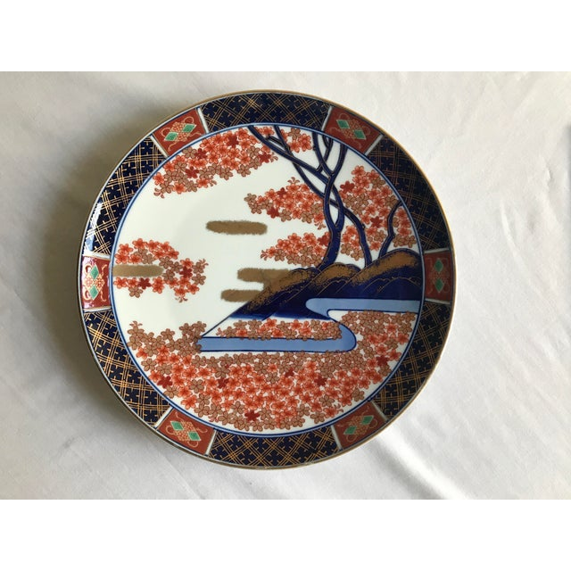 Vintage Mid Century Japanese Hand Painted Gold Imari Decorative Plate For Sale - Image 13 of 13