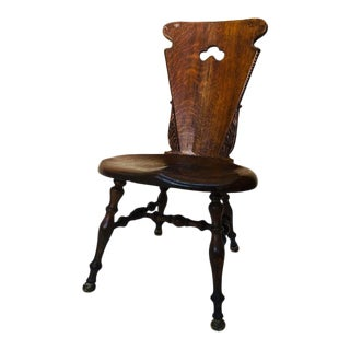 Early 20th Century Antique Hand Carved Wood Hall Chair For Sale