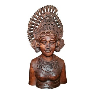 Mid-20th Century Balinese Carved Woman Bust For Sale