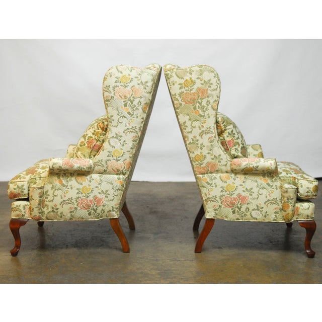George II Style Brocade Wingback Chairs - A Pair - Image 4 of 9