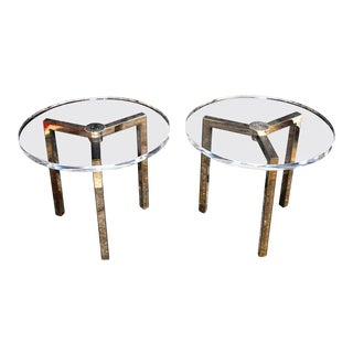 Pair of Lucite Side Tables Design by Charles Hollis Jones Signed For Sale