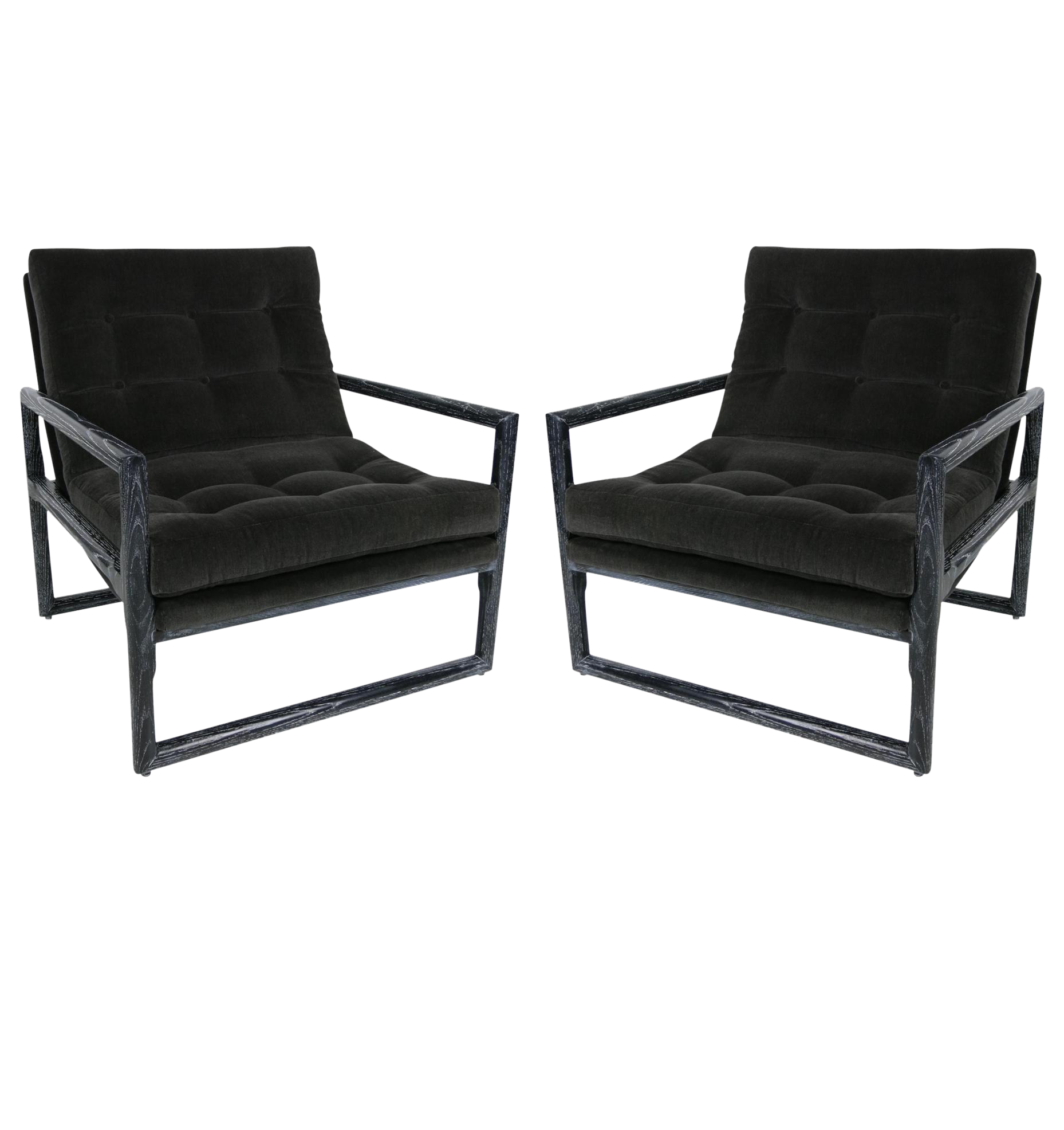 Elegant Pair Of Ebonized Cerused Oak Scoop Chairs By Milo Baughman   Image 1 Of 5