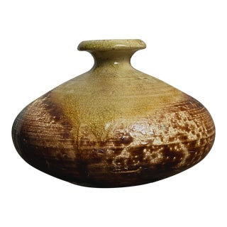Mid-Century Raku Fired Stoneware Vessel For Sale