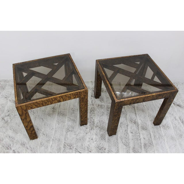 Plastic Mid Century Modern pair of end tables with glass tops For Sale - Image 7 of 10