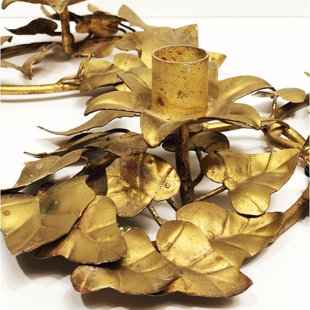 Italian Italian Gold Leaf Candle Holders - a Pair For Sale - Image 3 of 7