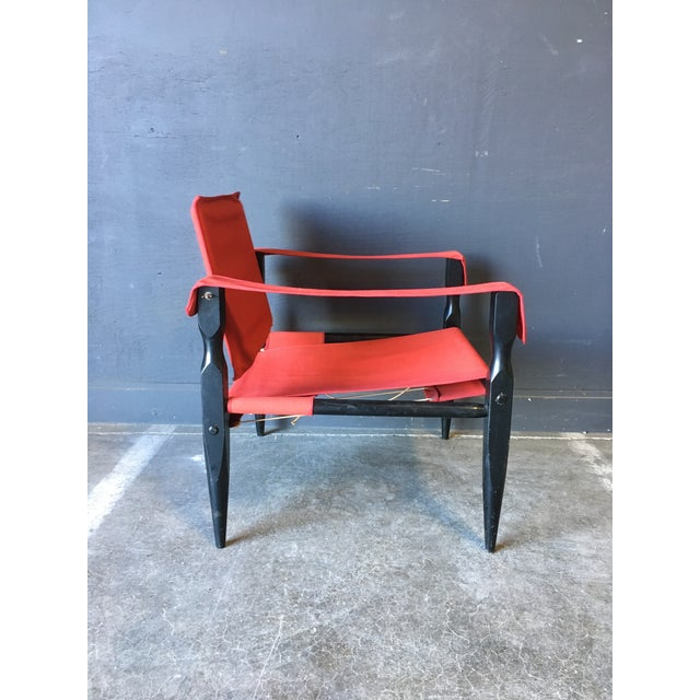 Danish Modern 1980's Red Safari Chair For Sale - Image 3 of 11