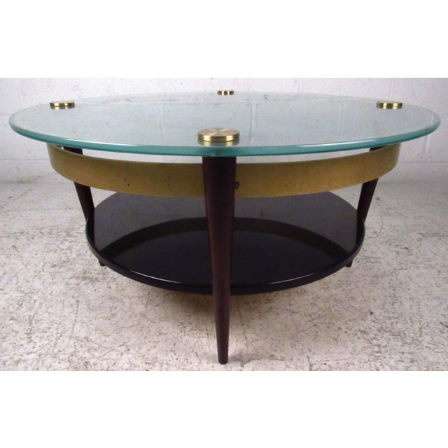 Mid-Century Floating-Top Glass & Brass Coffee Table - Image 2 of 9