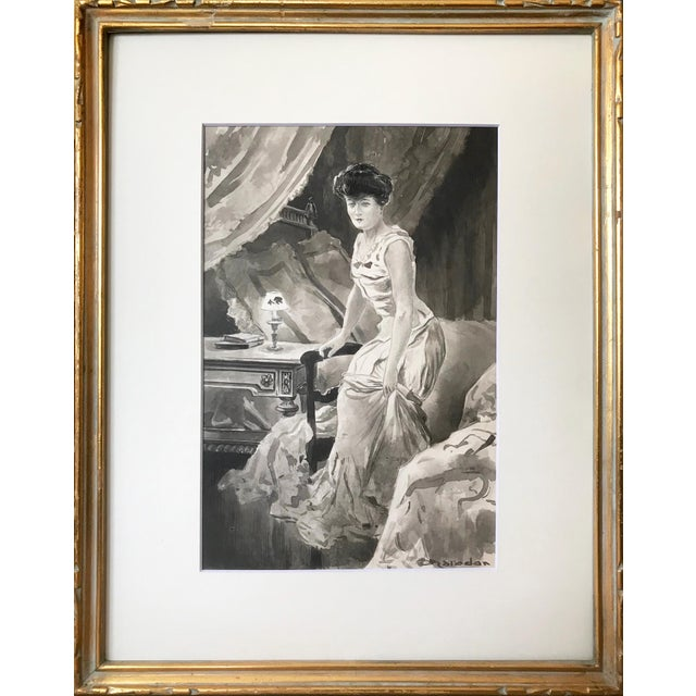 C.1890 Antique Watercolor Painting Victorian Boudoir For Sale In New York - Image 6 of 6