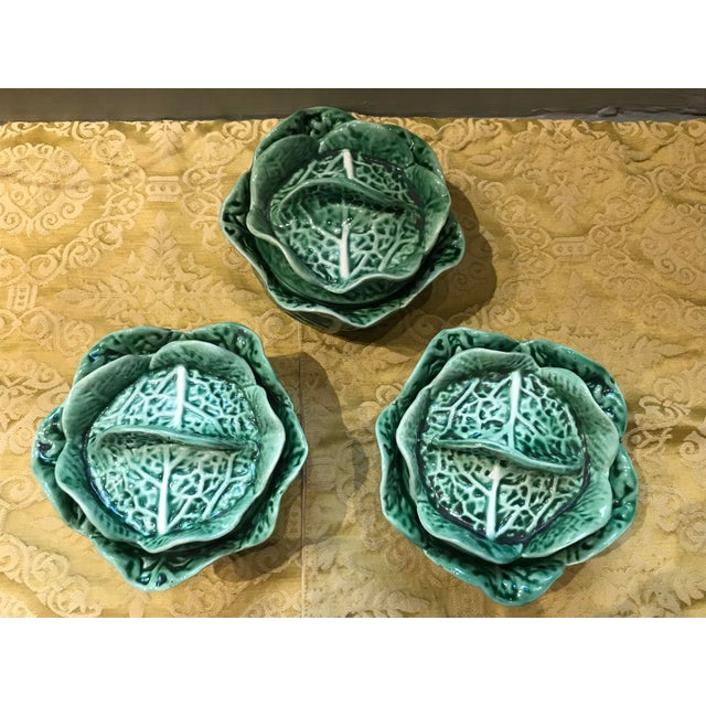Set of 3 vintage Secla, made in Portugal, majolica ceramic green cabbage covered soup bowls or small serving bowls (could...