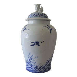 Blue & White Chinoiserie Ginger Jar For Sale