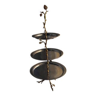 Botanical Metal Tiered Serving Plate For Sale