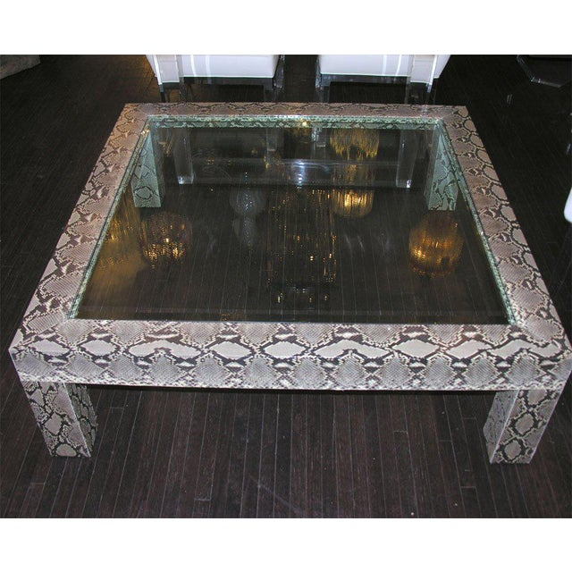 Python Cocktail Table with Inset Glass Top For Sale In New York - Image 6 of 6