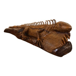 Life Size Hand Carved Large Wooden Iguana Sculpture For Sale