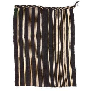 "Vintage Black & White Striped Goat Hair Kilim Rug-5'7'x7'4"" For Sale"
