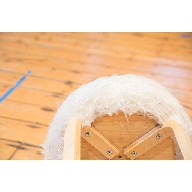 Boho Chic Faux Fur Alvar Aalto Stye Stool For Sale - Image 3 of 7
