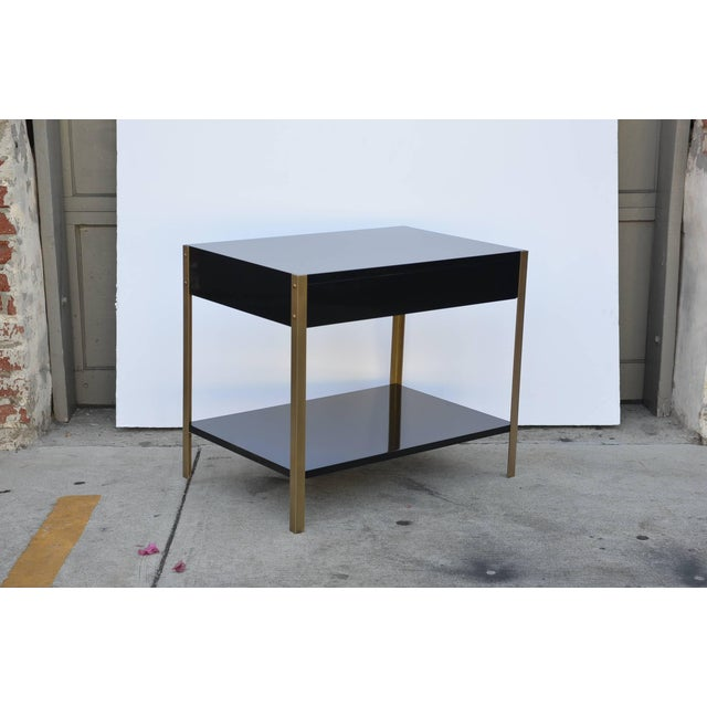 """Maison Jansen Contemporary Design Frères """"Laque"""" Black Lacquer and Brass Nightstands - a Pair For Sale - Image 4 of 9"""
