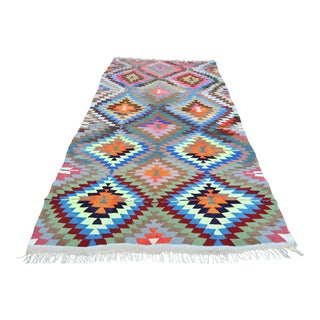 "Vintage Turkish Antalya Nomads Kilim Rug-5'2'x9'1"" For Sale"