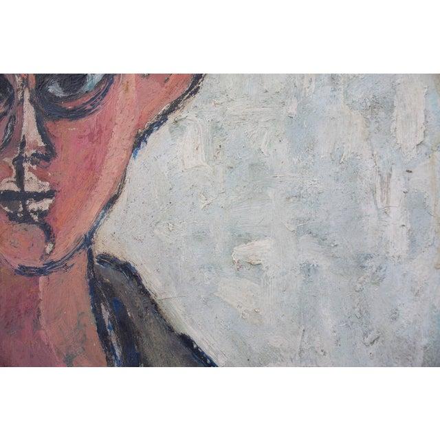 Expressionism Vintage Framed Portrait of Man For Sale - Image 3 of 4