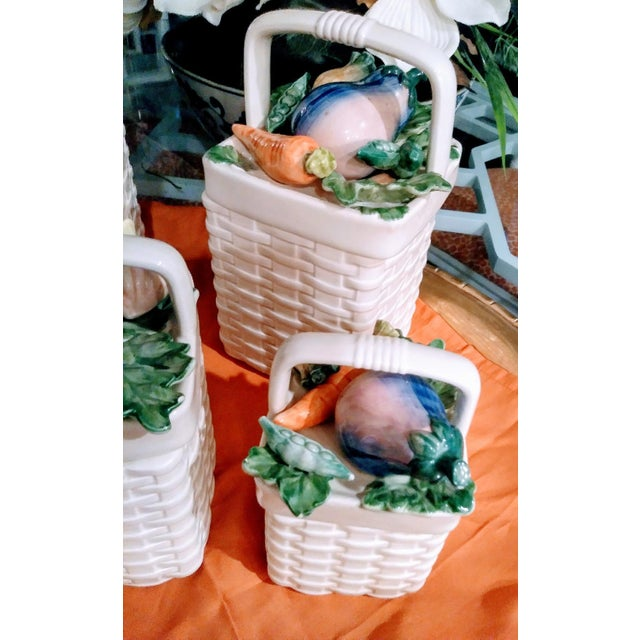 Fitz and Floyd 4 Piece Ceramic Weave Basket Vegetable Canister Set For Sale In West Palm - Image 6 of 7