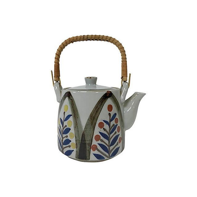 Wood Late 20th Century Hand Painted Japanese Teapot For Sale - Image 7 of 7