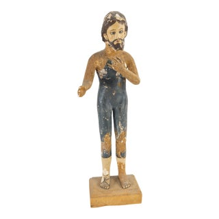 19th Century Italian Carved and Painted Wood Religious Creche Figure For Sale