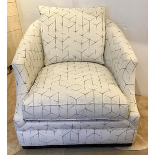 Caracole Couture Gray and White Abstract Print Modern Swivel Club Chair Preview