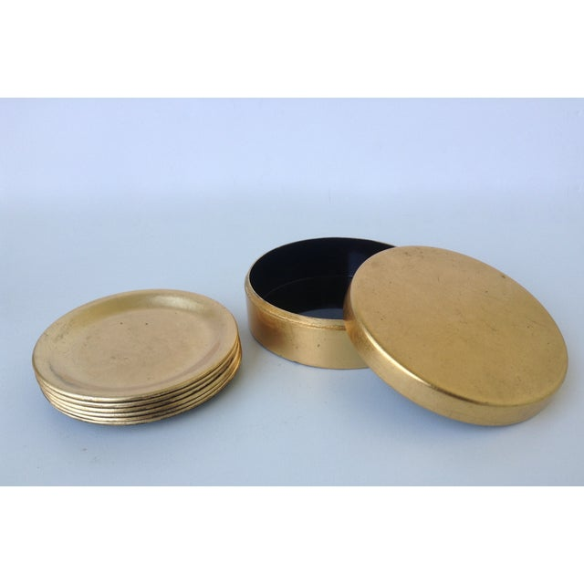 Gold Leaf Lacquered Smoke & Coaster Set For Sale - Image 9 of 11